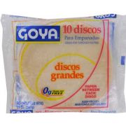 Goya Large White Discos Pastry Dough, 20 Ounce -- 24 per case.