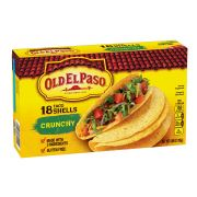 Old El Paso Crunchy Taco Shells, 6.89 Ounce - 18 per pack -- 12 packs per case.