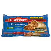 Ruiz Foodservice El Monterey Beef and Bean Chimichanga, 4 Ounce - 8 per pack -- 8 packs per case.