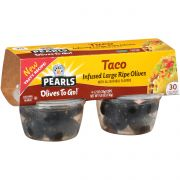 Pearls Taco Pitted Infused Ripe Olives, 4.8 Ounce Cup -- 6 per case.