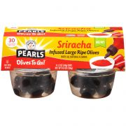 Pearls Sriracha Infused Ripe Olives, 4.8 Ounce Cup -- 6 per case.