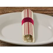 Hoffmaster CaterWrap EarthWise Fashnpoint Renewable Resources Fork Knife White Red Napkin with Band -- 100 per case