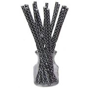 Hoffmaster Simply Baked Black Quadrafoil Drinking Straw, 8 inch -- 500 per case.