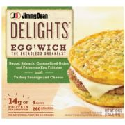 Jimmy Dean Delights Bacon Spinach Onion Eggwich, 4 count per pack -- 6 per case