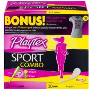 Playtex Sport Tampon and Liners - Combo Pack, 48 count per pack -- 8 per case.