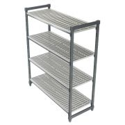 Cambro Camshelving Elements Series Brushed Graphite 4 Vented Shelves Stationary Starter Unit, 18 x 60 x 72 inch -- 1 each
