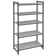 Cambro Camshelving Elements Series Brushed Graphite 5 Vented Shelves Stationary Starter Unit, 18 x 48 x 84 inch -- 1 each