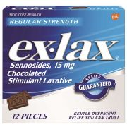 Ex-Lax Regular Strength Laxative Supplement Chocolate, 12 count per pack -- 36 per case