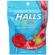 Halls Kids Cherry Flavored Cough and Sore Throat Pops, 2.112 Ounce -- 24 per case