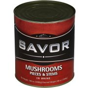Savor Imports Mushroom Pieces and Stems, Number 10 Can -- 6 per case.