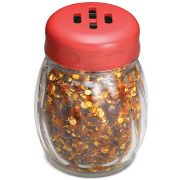 Tablecraft Glass Shaker with Plastic Slotted Red Top, 6 Ounce -- 12 per case