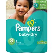 Pampers Size 3 Baby Dry Diaper, 8 count per pack -- 6 per case.