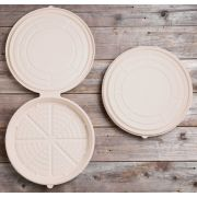 World Centric Unbleached Plant Fiber Round Deep Dish Pizza Clamshell, 14 inch -- 100 per case.