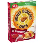 Post Strawberry Honey Bunches of Oats Cereal, 2 Ounce -- 12 per case.