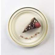 Glimmerware Bone and Gold Dessert Plate, 6 inch, 10 count per pack -- 12 per case.