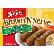 Banquet Brown and Serve Turkey Breakfast Sausage Link, 6.4 Ounce -- 12 per case.