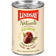 Lindsay Naturals Domestic Medium Pitted Black Ripe Olives, 6 Ounce -- 12 per case.