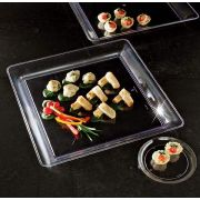 Party Tray Square Black Tray, 16 x 16 inch -- 20 per case.