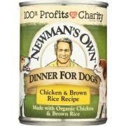 Newmans Own Organic Chicken and Brown Rice Recipe Dinner for Dog, 12.7 Ounce Can -- 6 per case