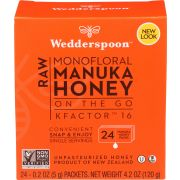 Wedderspoon On The Go 100 Percent Raw Manuka Honey, 24 packets per pack -- 6 per case