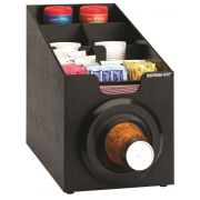 Dispense-Rite Countertop Black Polystyrene Cup Dispensing Cabinet with One SLR-2S and Built-in Lid and Straw Organizer -- 1 each