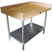 Wood Top Table with Riser and Undershelf - Stainless Steel Base, 36 x 84 inch -- 1 each.