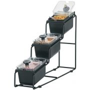 Server WireWise 3 Tiered 1/9 Size Jar Station with Lids and Spoons, 13 11/16 x 4 13/16 x 22 3/8 inch -- 1 each