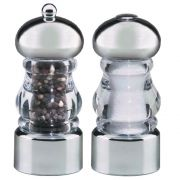 Chef Specialties Lori Acrylic and Chrome Finish Pepper Mill and Salt Shaker Set, 5.5 inch -- 1 each.