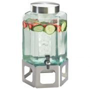 Cal Mil 2 Gallon Stainless Steel Cutout Glass Beverage Dispenser with Ice Chamber, 10.75 x 11.5 x 22.75 inch -- 1 each.