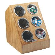Cal Mil Bamboo Six Compartment Spacesaver Vertical Utensil Stand, 12 x 14.25 x 16.5 inch -- 1 each.