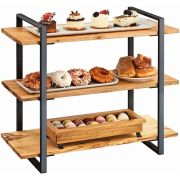 Cal Mil Madera Collection 3 Shelf Black Frame Riser, 28 x 12 x 24 inch -- 1 each.