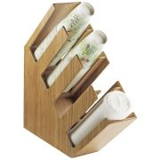 Cal Mil 4 Section Bamboo Slanted Cup/Lid and Straw Organizer, 4.375 x 20 x 19.5 inch -- 1 each.