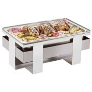 Cal Mil Luxe White Stainless Steel Chafer, 21.75 x 13.75 x 9 inch -- 1 each.