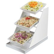 Cal Mil Luxe Three Tier Three White Stainless Steel Trim 8 inch Square Bowl Display, 10 x 16.25 x 17 inch -- 1 each.