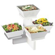 Cal Mil Luxe White Stainless Steel Trim Multi Level 4 Bowl Display Stand, 20 x 16 x 13.5 inch -- 1 each.