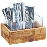 Cal Mil Madera 3 Section Flatware Display, 9 x 6 x 5.125 inch -- 1 each.