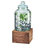 Cal Mil Glass Beverage Dispenser with Walnut Base, 10.25 x 10.25 x 21 inch -- 1 each.