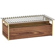 Cal Mil Mid Century Chafer Alternative with Brass Grill, 22 x 12 x 7.5 inch -- 1 each.