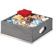Cal Mil Oak Ashwood Gray Nine Section Condiment Organizer, 12 x 12 x 6 inch -- 1 each.