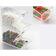 Cal Mil Classis Acrylic Stackable Topping Dispenser with Notch Lid, 4 x 11 x 7 inch -- 2 per case.