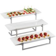 Cal Mil Chrome Frame Porcelain 3 Platter Display, 23 x 24.5 x 12 inch -- 1 each.