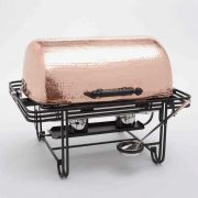 American Metalcraft Mesa Rectangular Roll Top Chafer with Hammered Copper Cover, 8 Quart -- 1 each.