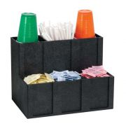 Dispenser Rite Black Polystyrene Countertop Six Section Cup Lid Straw and Condiment Organizer, 11 3/4 x 15 x 10 inch -- 1 each.