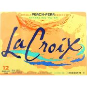 Lacroix Peach Pear Sparkling Water, 12 Fluid Ounce Can -- 24 per case.