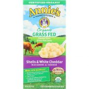 Annies Homegrown Organic Grass Fed Shells and White Cheddar Macaroni and Cheese, 6 Ounce -- 12 per case.