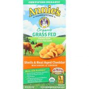 Annies Homegrown Organic Grass Fed Shells and Real Aged Cheddar Macaroni and Cheese, 6 Ounce -- 12 per case.