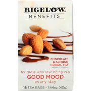 Bigelow Benefits Chocolate and Almond Herbal Tea, 18 bags per pack -- 6 per case.
