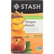 Stash Green and White Tea Blend - Ginger Peach Green - 18 bags per pack -- 6 packs per case.