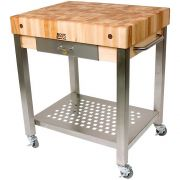 John Boos Maple Block Cream Finish Cucina Technica Cart with Drawer, 30 x 24 x 4 inch -- 1 each.