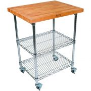 John Boos Varnique Finish Blended Cherry Top Metropolitan Wire Cart, 27 x 21 x 1.5 inch -- 1 each.